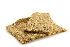 Raw Low Carbohydrate Crispbread. On white background stock photo