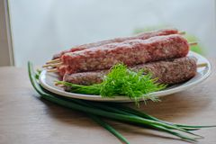 Raw lulya kebab from meat on a white plate with with dill and green onions. Raw lulya kebab from meat on a white plate Royalty Free Stock Photography