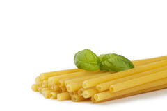 Raw macaroni with basil Stock Image