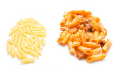 Raw and macaroni bolognese Stock Images