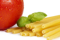 Raw macaroni with tomato and basil Royalty Free Stock Image