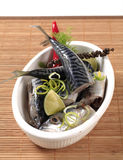 Raw mackerel. Pieces of raw mackerel in a casserole dish Stock Images