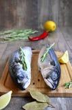 Raw mackerel. Raw mackerel on a cutting board Royalty Free Stock Image