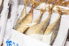Raw mackerel fish in prastic wrap. At thai market Stock Image