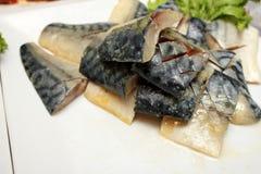 Raw Mackerel fish in white plate Royalty Free Stock Photo