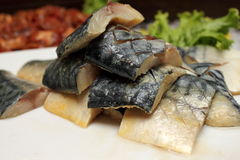 Raw Mackerel fish in white plate Stock Photography