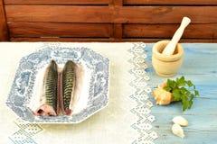 Raw mackerel Stock Photos