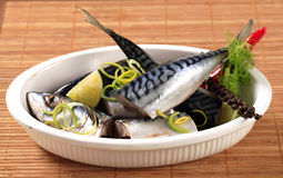 Raw mackerel. Pieces of raw mackerel in a casserole dish Stock Photo