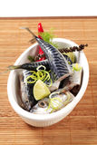Raw mackerel. Pieces of raw mackerel in a casserole dish Stock Photography