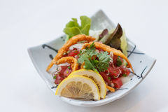 Raw Maguro Bluefin Tuna Spicy Salad Topping with Shirauo Japanese anchovy Tempura.  Stock Images