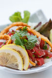 Raw Maguro Bluefin Tuna Spicy Salad Topping with Shirauo Japanese anchovy Tempura.  Royalty Free Stock Photos