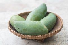 Raw mango on basket Stock Image