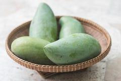 Raw mango on basket Royalty Free Stock Photo