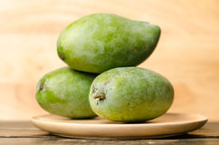 Raw mango. On wooden plate Royalty Free Stock Photos