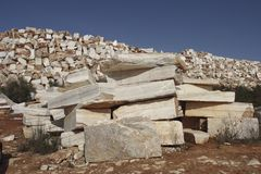 Raw marble in a quarry Stock Photo