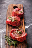 Raw marbled meat Steak filet mignon and seasoning royalty free stock photography