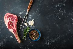 Raw marbled meat steak stock photos