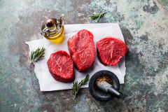 Raw marbled meat Steak and seasonings Stock Photo
