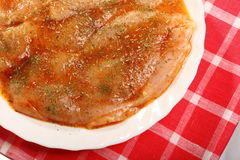 Raw marinated chicken breasts with spices Stock Photography