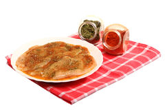 Raw marinated chicken breasts with spices Stock Photo