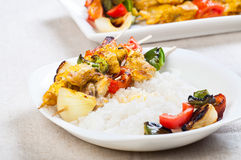 Chicken kebab ready to be grill Royalty Free Stock Photo