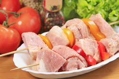 Raw marinated meat. With vegetables Royalty Free Stock Photos