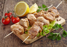 Raw marinated pork kebab meat Stock Photo