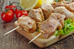 Raw marinated pork kebab meat Stock Photos