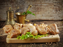 Raw marinated pork kebab meat Royalty Free Stock Images