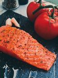 raw marinated salmon - healthy eating and mediterranean cuisine recipes styled concept stock image