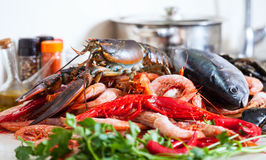 Raw marine products at cooking table Royalty Free Stock Photo