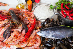 Raw marine products and rice at  kitchen Stock Photos