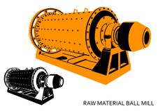 Raw material ball mill yellow-black. Raw material ball mill isolated color yellow-black and monochrome graphic, 34 in perspective royalty free illustration