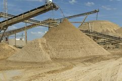 Raw materials. Extraction of raw materials for making cement and other construction materials stock images