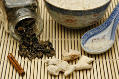 Raw materials for Chinese food. Raw materials like rice, cinnamon, mushroom and ginger for Chinese food Stock Photo