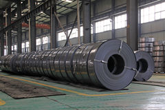 Raw materials strip. In the internal of a steel manufacturing plant Stock Photos