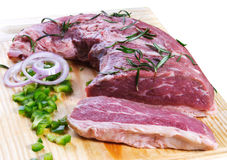 Raw meat. Cuts of fresh meat in white backgroun Royalty Free Stock Photos