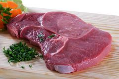 Raw meat. Cuts of freas meat in white backgroun Royalty Free Stock Image