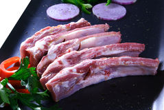 Raw meat. Cuts of freas meat in white backgroun Stock Photo