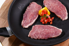 Raw meat. Cuts of freas meat in white backgroun Stock Photography