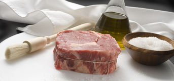 Raw meat. Piece of raw steak for grilling ingredients Stock Photo