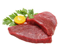 Raw Meat. White isolated image of uncooked cow meat stock photos