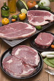 Raw meat. Fresh slices of raw meat Stock Images