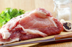 Raw meat. On wooden board Royalty Free Stock Photo