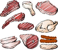 Raw Meat. Varioust cuts of raw meat hand-drawn lineart sketch look rough sketchy coloring Stock Image