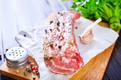 Raw meat. With aroma spice Royalty Free Stock Photo