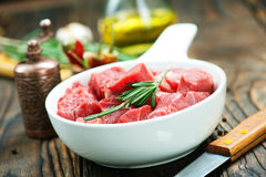 Raw meat. With aroma spice and sea salt Stock Photo