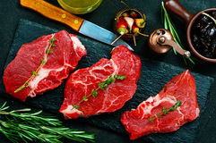 Raw meat. With aroma spice and sea salt Royalty Free Stock Image