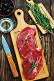 Raw meat. With aroma spice and sea salt Stock Image
