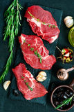 Raw meat. With aroma spice and sea salt Stock Photography
